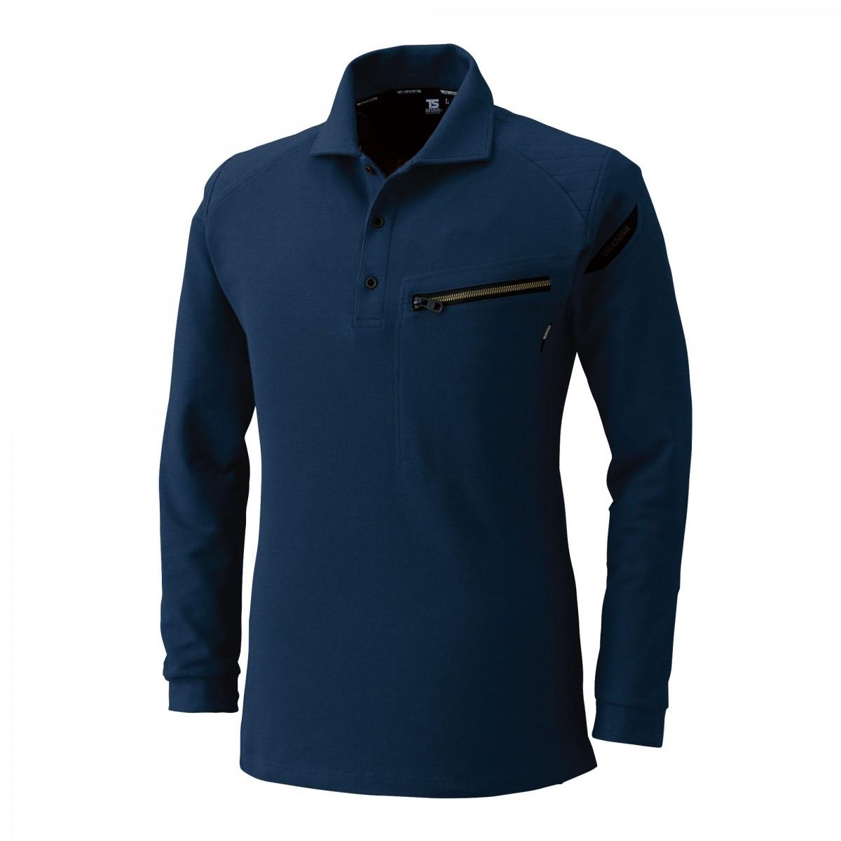 TS DESIGN~TSデザイン~5105 ワークニットロングポロシャツ 45 ネイビー