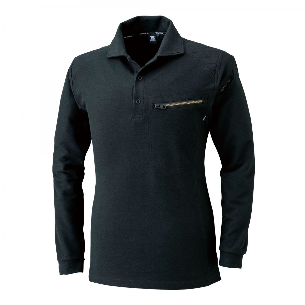 TS DESIGN~TSデザイン~5105 ワークニットロングポロシャツ 95 ブラック