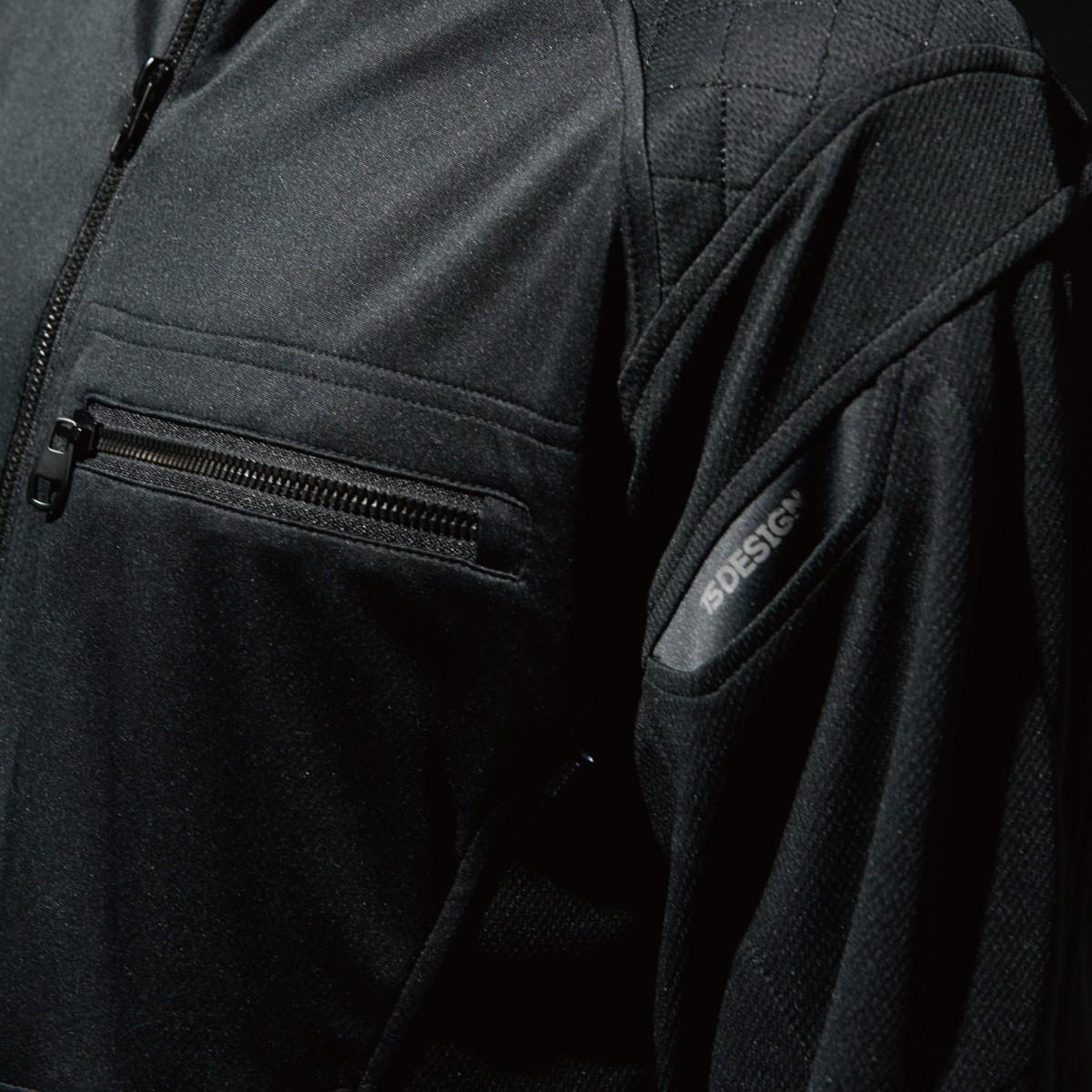 846305 ワークニットロングシャツ 左胸 ファスナーポケットで便利です。