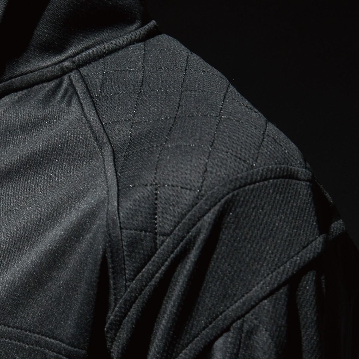 846305 ワークニットロングシャツ 肩 刺し子の補強仕様で丈夫です。