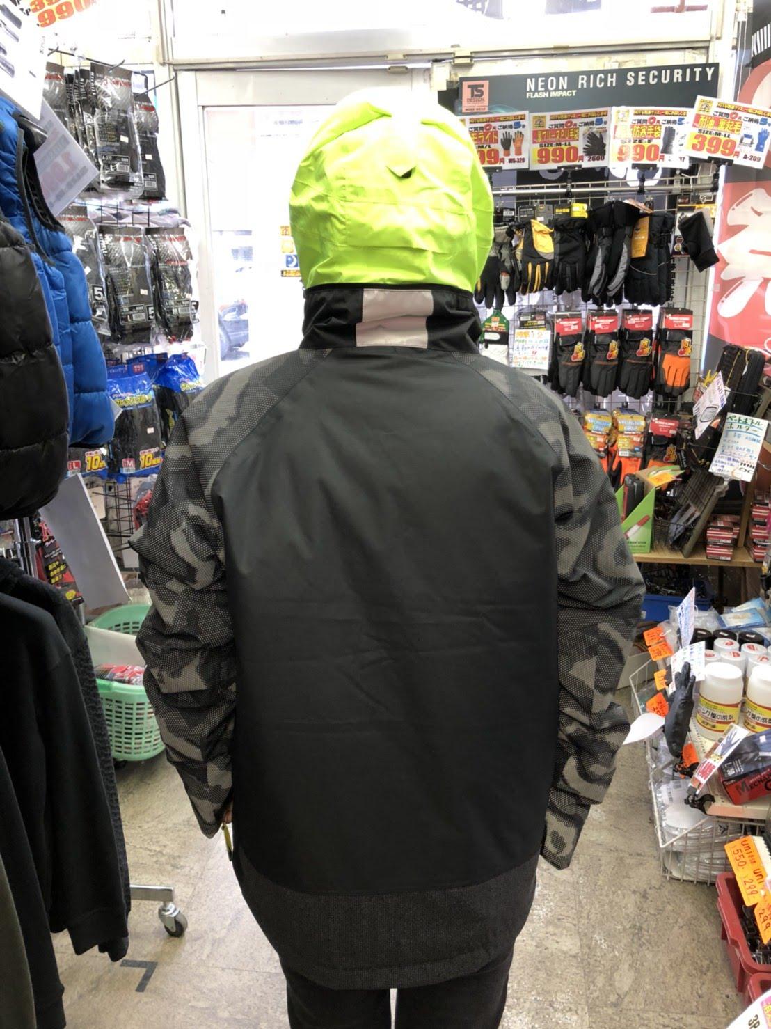 TS DESIGN  18236 メガヒートフラッシュ防水防寒ジャケット 後ろはこんな感じです。カッコイイ。