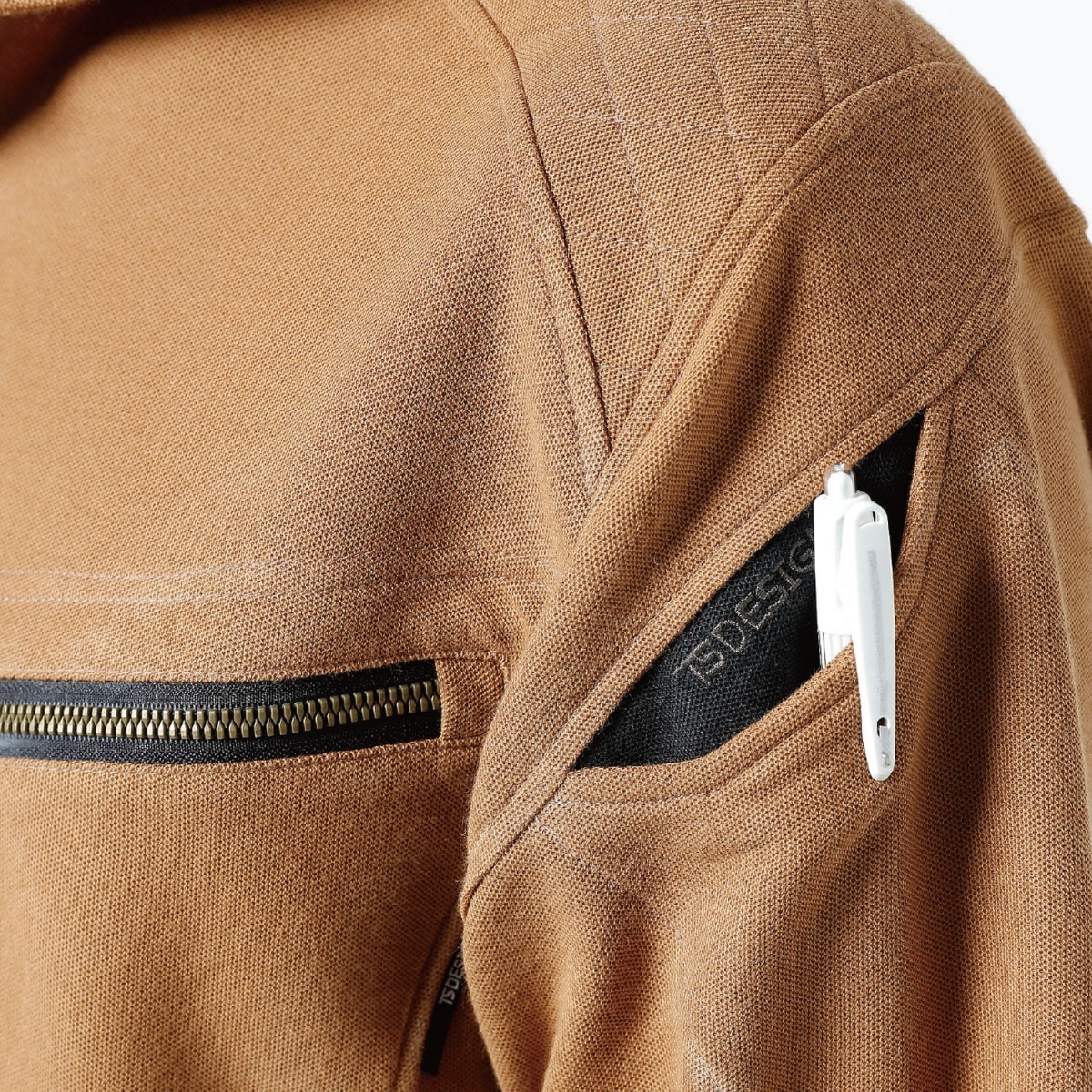 TS DESIGN~TSデザイン~5015 ワークニットロングポロシャツ 左腕マルチポケット。