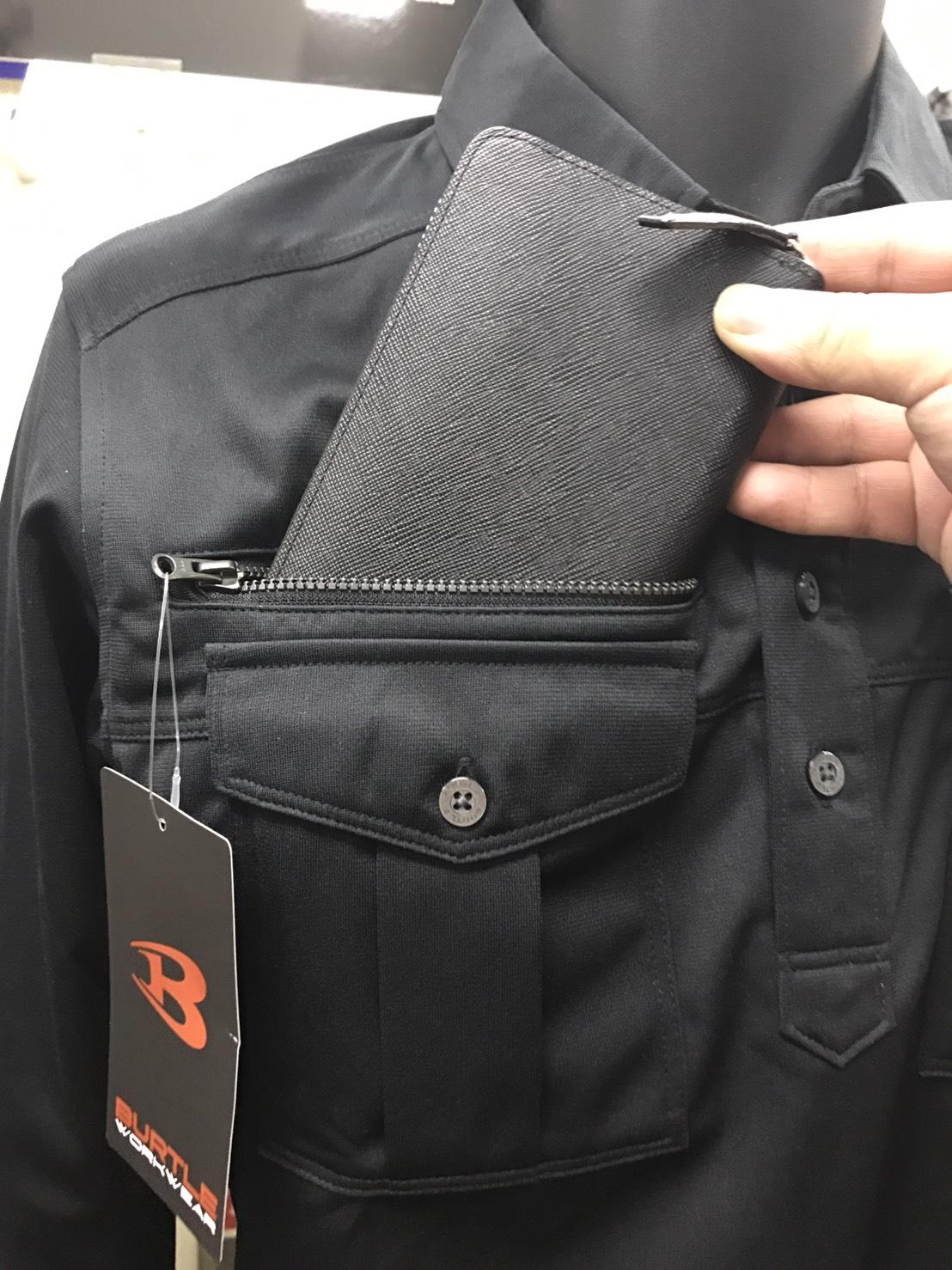 BURTLE~バートル~705 ワークシャツ。深さ20cmの大型ポケット!!