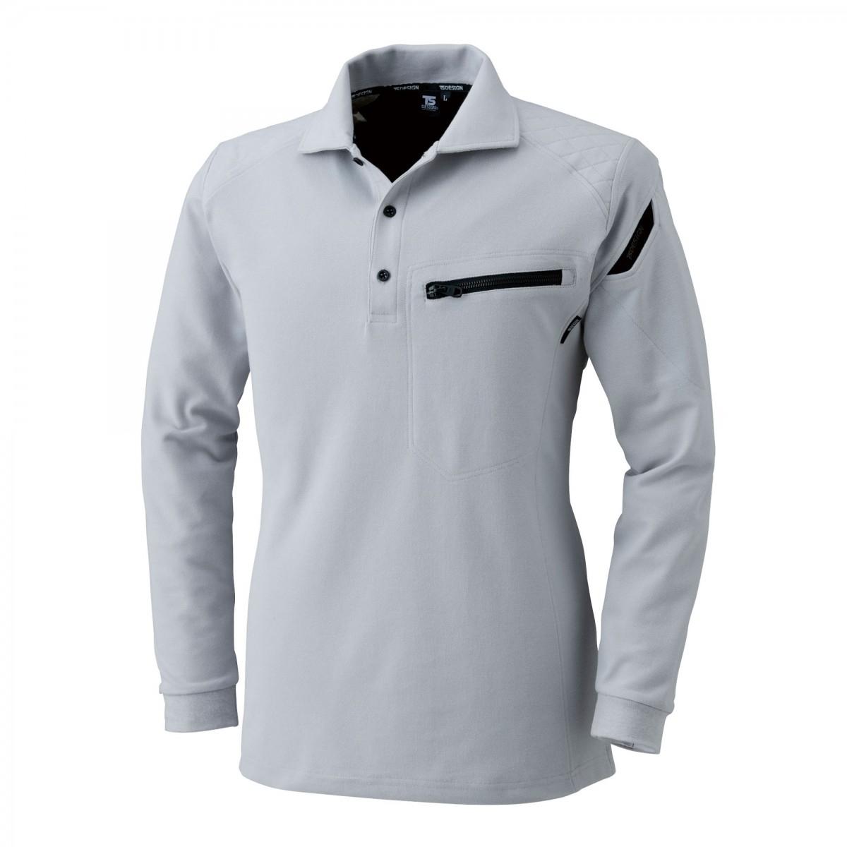 TS DESIGN~TSデザイン~5105 ワークニットロングポロシャツ 25 シルバーグレー