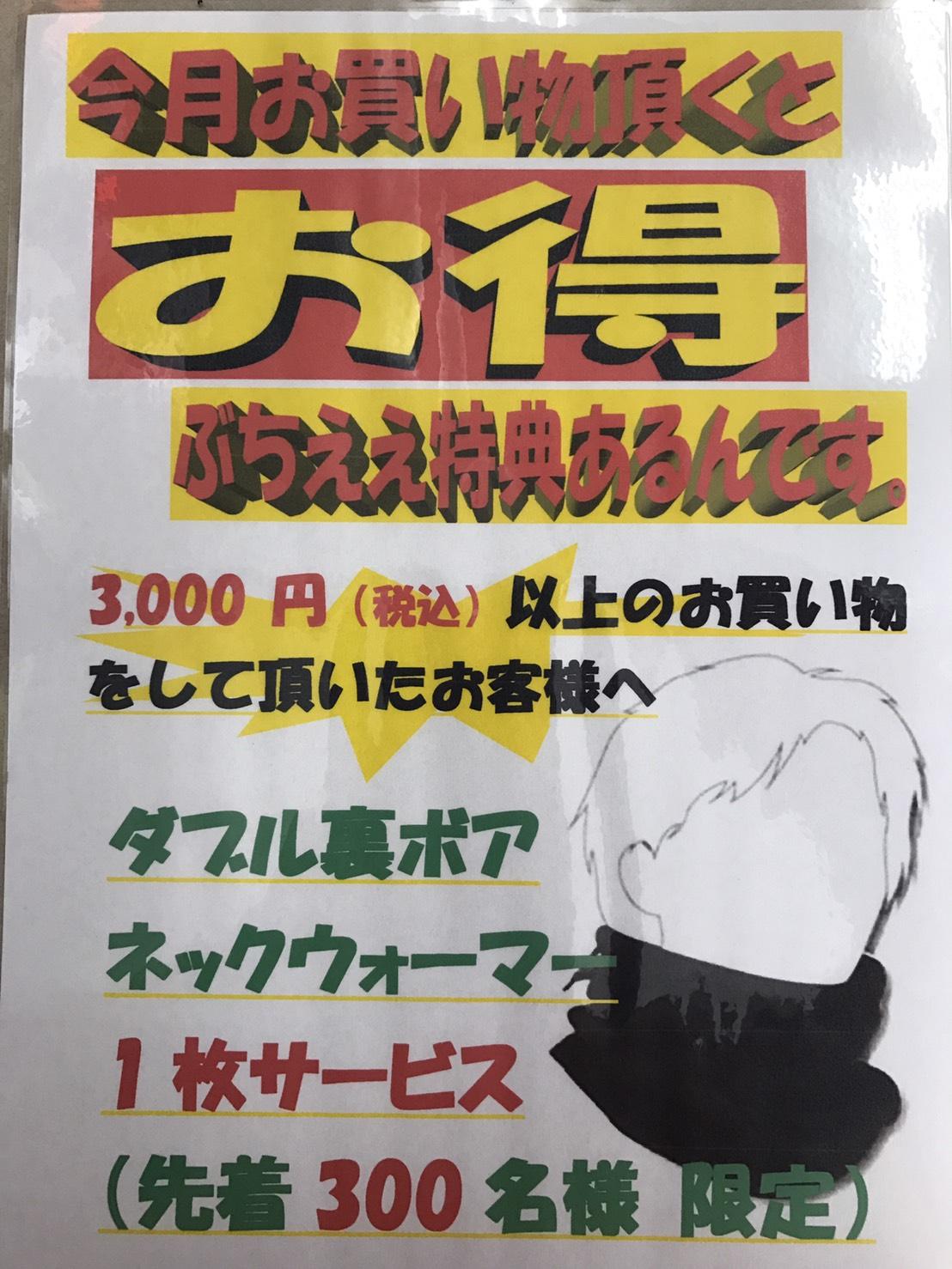 今月のイベント 3,000円(税込)以上お買い物して頂くと、ダブル裏ボアネックウォーマープレゼント!!