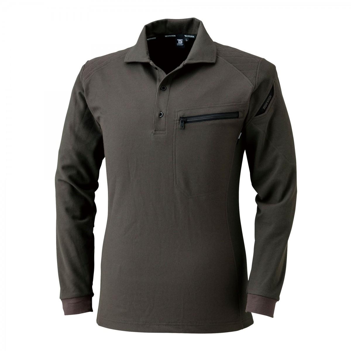 TS DESIGN~TSデザイン~5105 ワークニットロングポロシャツ 55 カーキ