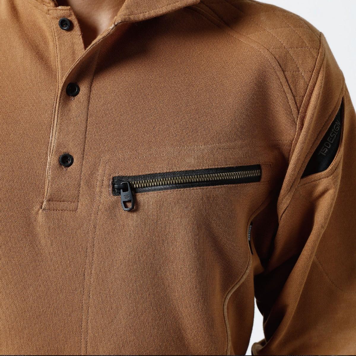 TS DESIGN~TSデザイン~5015 ワークニットロングポロシャツ 左胸大型ポケット。