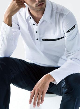 TS DESIGN 81305 ワークニットロングポロシャツ カッターシャツの様な綺麗目ポロシャツ。
