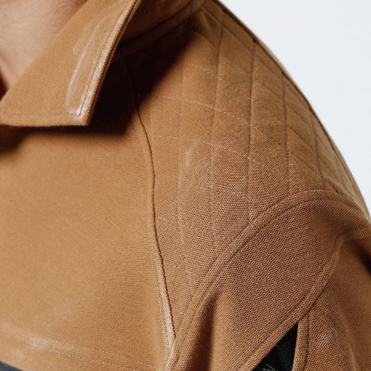 TS DESIGN~TSデザイン~5015 ワークニットロングポロシャツ 肩刺し子仕様。