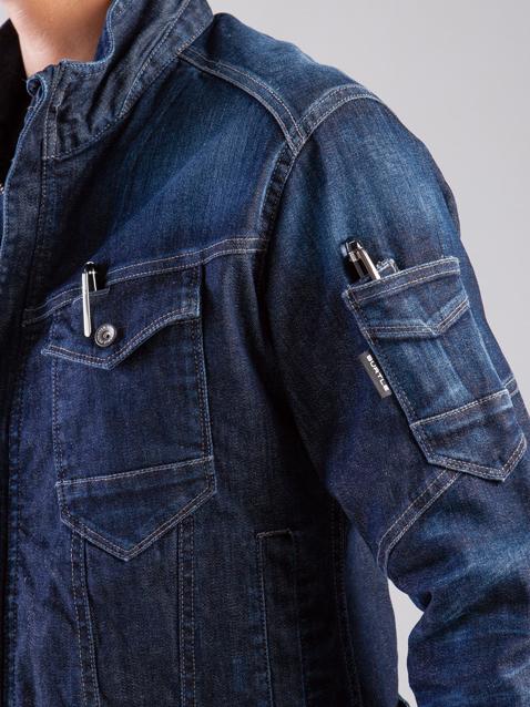 BURTLE~バートル~ 511 ブラストデニムジャケット 左ペン差しは、ダブルになってます。