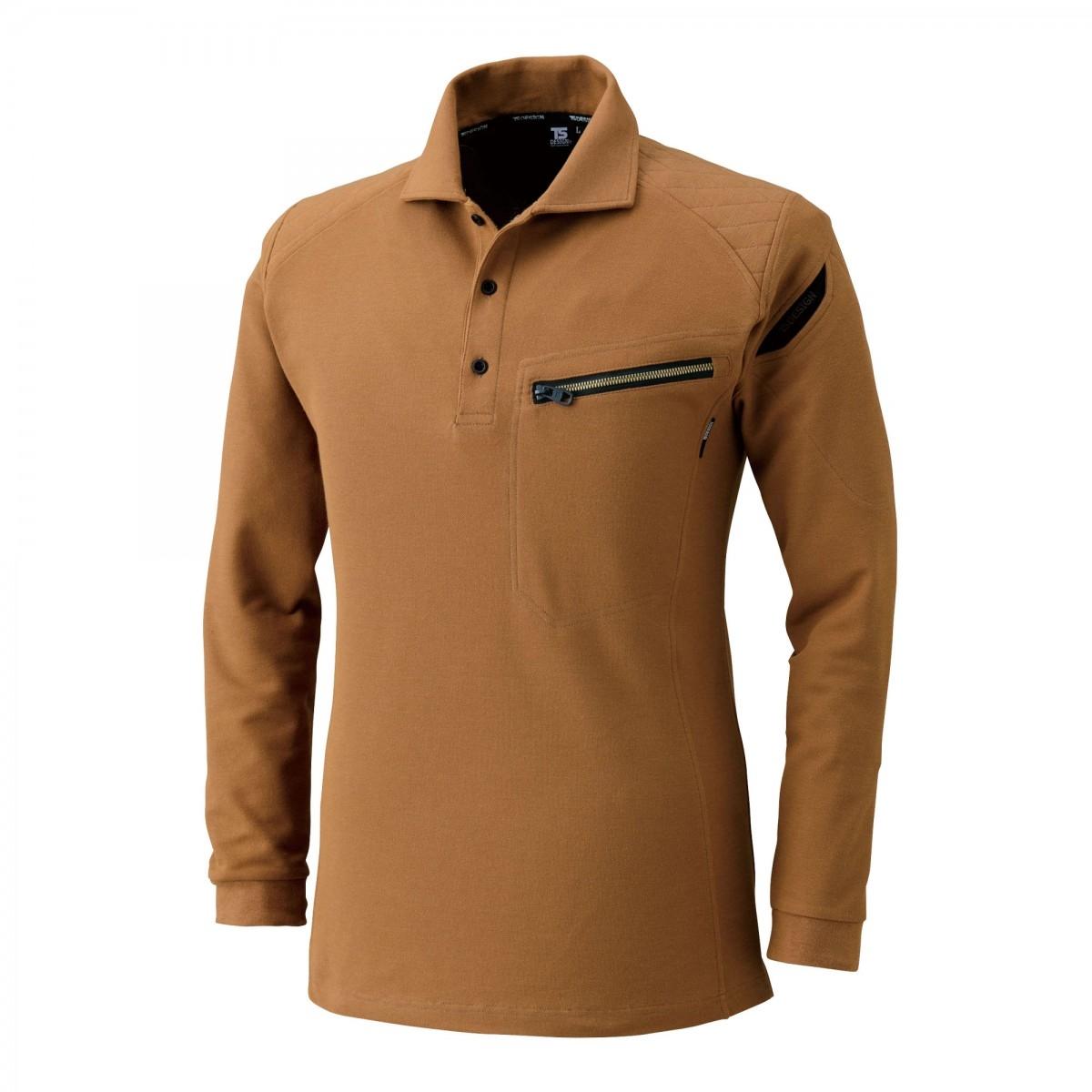 TS DESIGN~TSデザイン~5105 ワークニットロングポロシャツ 65 キャメル