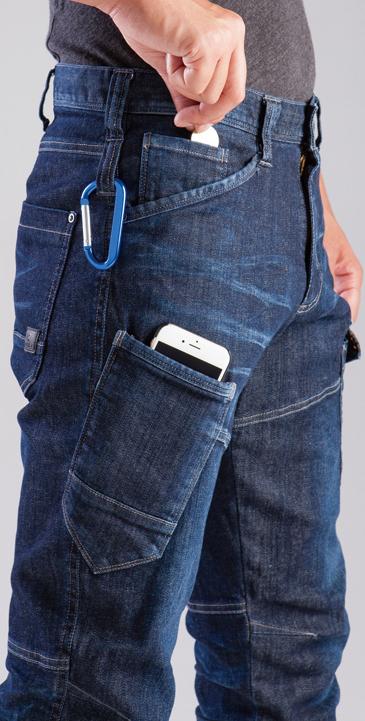 BURTLE~バートル~ 512 ブラストデニムカーゴパンツ 右ポケットは、スマホ対応。