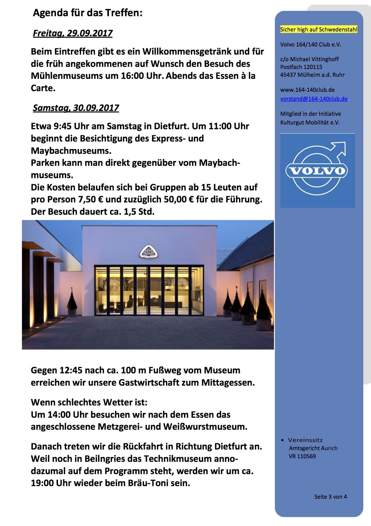 Herbsttreffen 2017 Volvo 164-140 Club e.V. - Einladung 3