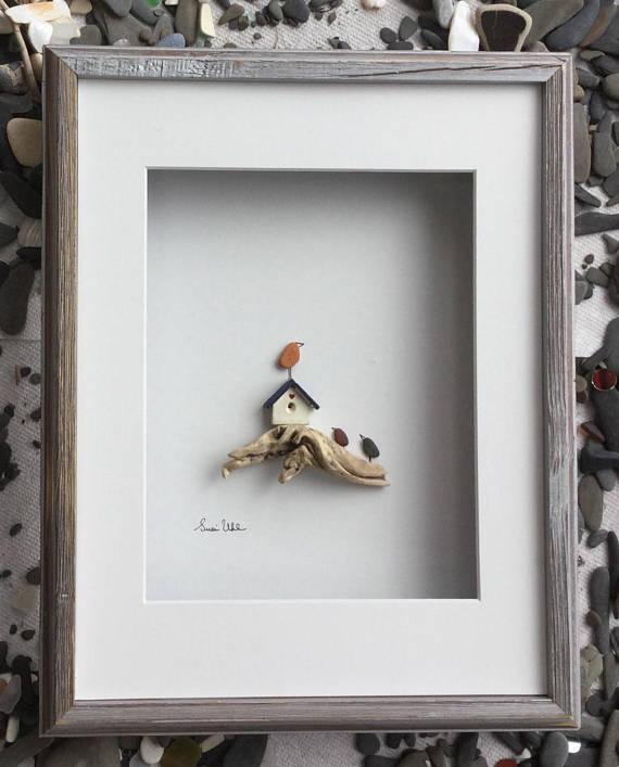 Pebble Art Birds wiht Bird House