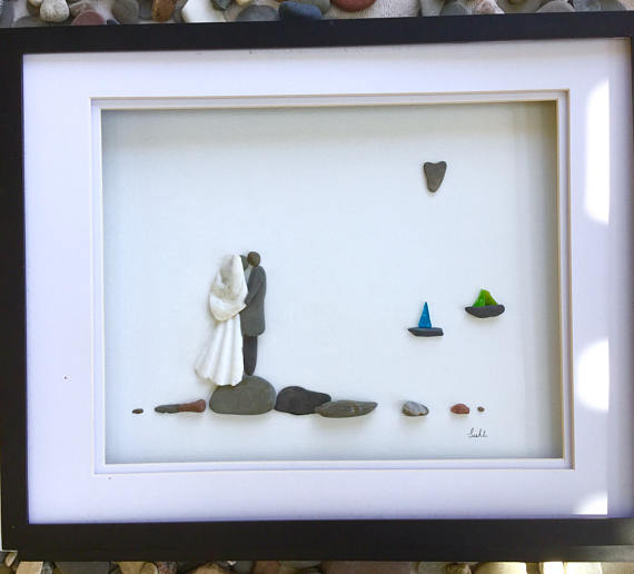 Pebble Art Wedding Couple in Shadow Box Frame