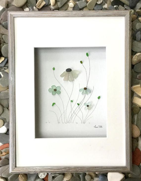 Pebble Art Genuine Sea Glass Flowers in Shadow Box Frame