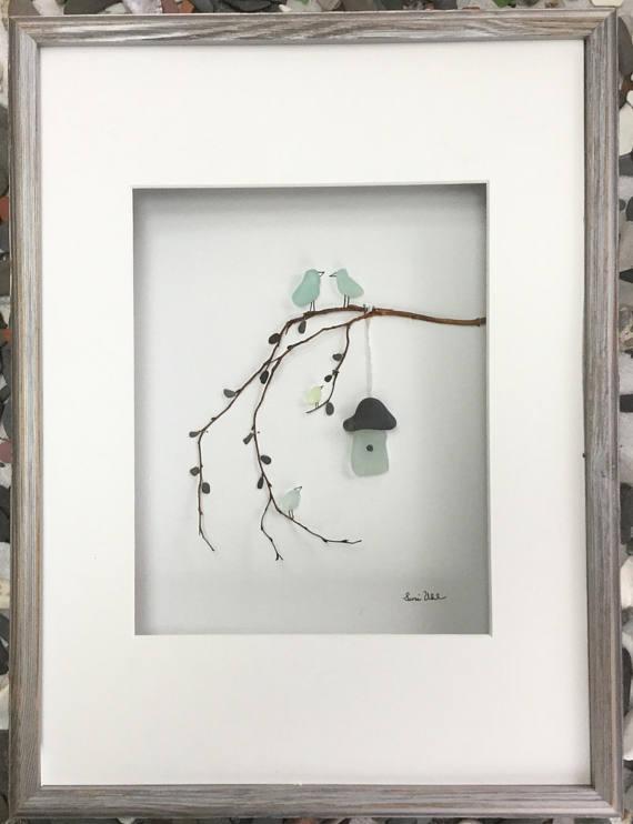 Pebble Art Genuine Sea Glas Bird Family with Bird House in Shadow Box Frame