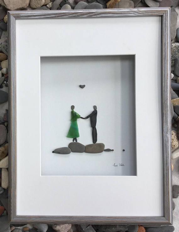 Pebble Art Romantic Couple in Shadow Box Frame