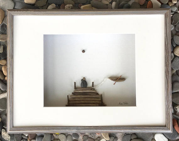 Pebble Art Romanitic Couple on Dock in Shadow Box Frame