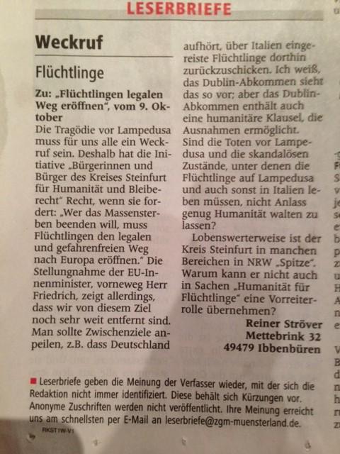 Leserbrief WN, Ibbenbürener Volkszeitung vom 17.10.2013