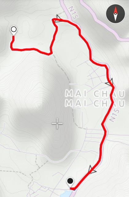 Leider nur ein Teil der Route (der Greyhound hat zu spät aufgezeichnet)