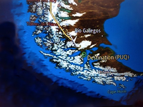 Auf dem Flug nach Punta Arenas - unserem bislang südlichsten Punkt der Weltreise