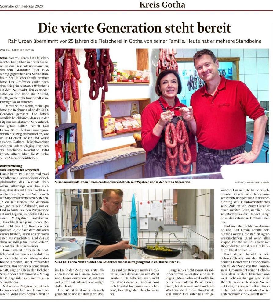 Wurstherstellung wie seit 1938: Die Gothaer Fleischerei der Familie Urban