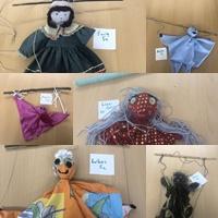 Lustige Marionetten aus natürlichen Materialien