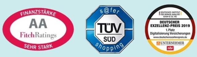 Auszeichnungen und Gütesiegel der ERGO Reiseversicherung: TÜV, Deutscher Excellenzpreis, FitchRating
