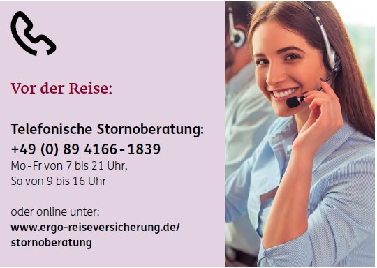 Telefonische Stornoberatung der ERGO Reiseversicherung für die Seminarversicherung