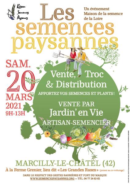 Flyer d'information sur 2 Trocs de graines et de plants  : le 13 mars à Montbrison et le 20 mars à Marcilly le châtel
