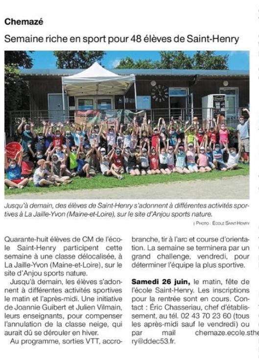 Ouest France du 10 juin 2021