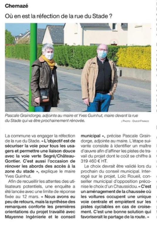 Ouest France du 03 mai 2021