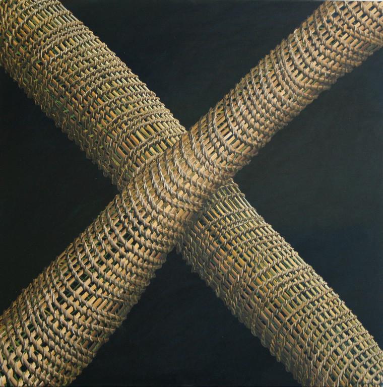 'Net crossings', 710 x710mm. Oil on canvas.