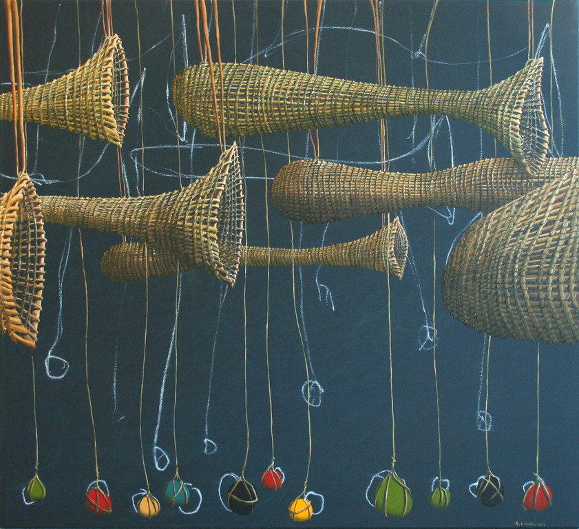 'Net and sinkers by night', 1370 x1120mm, oil on canvas.