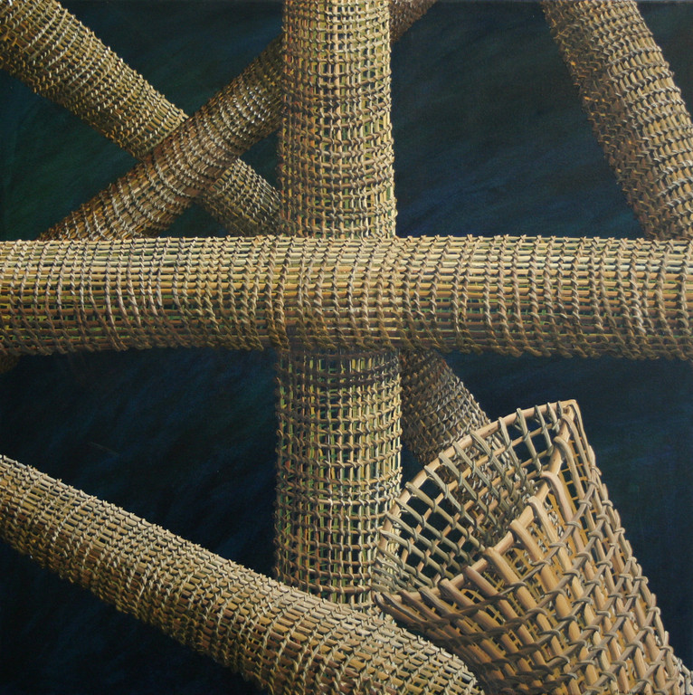 'Net crossings', 710 x710mm. Oil on canvas.