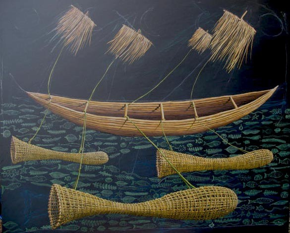 'Fishing Stories',1120x1010mm,oil on canvas.