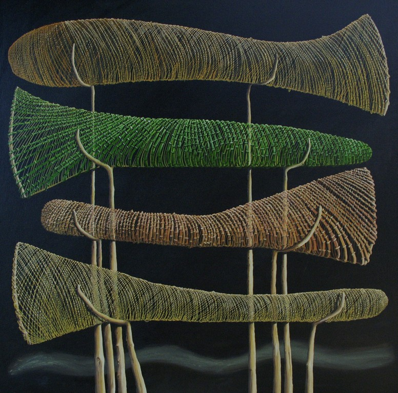 ' Drying Nets',1220 x1120mm, oil on canvas.