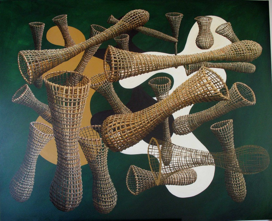 'Landscape of nets and inlets' 760 x760mm, oil on canvas.