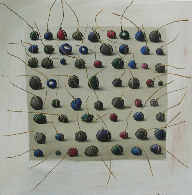 'Lost sinkers', 710 x710mm, oil on canvas