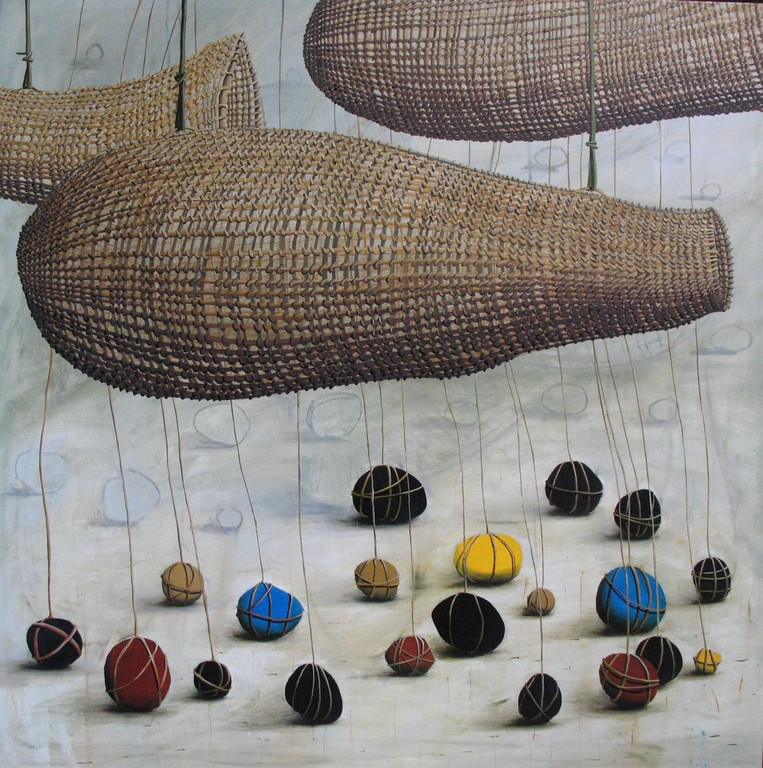 'Nets and sinkers', 1120x1120mm,oil on canvas.
