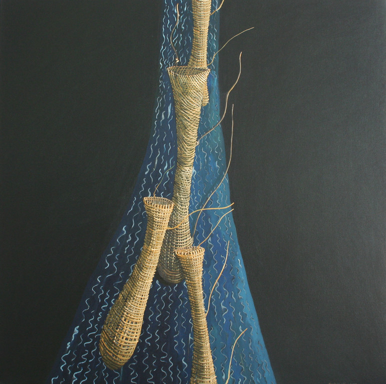 'Nets adrift', 760 x760mm, oil on canvas.