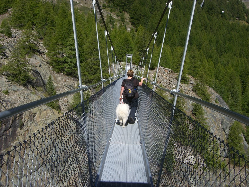 Endlose Hängebrücke - wir sind beide mutig