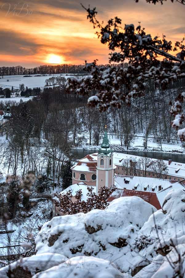 Sonnenuntergang am Kloster Weltenburg.