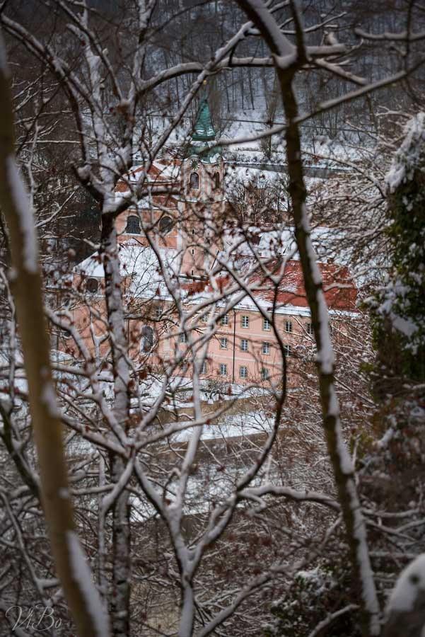 Kloster Weltenburg durch die Bäume.