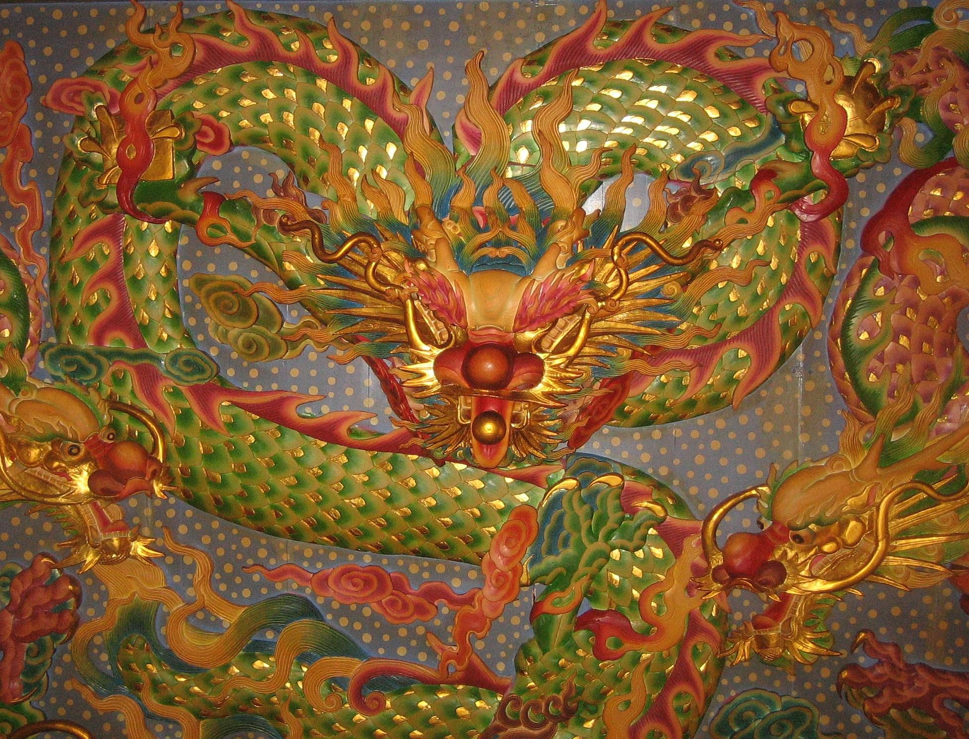 京福宮(台北)天井の龍