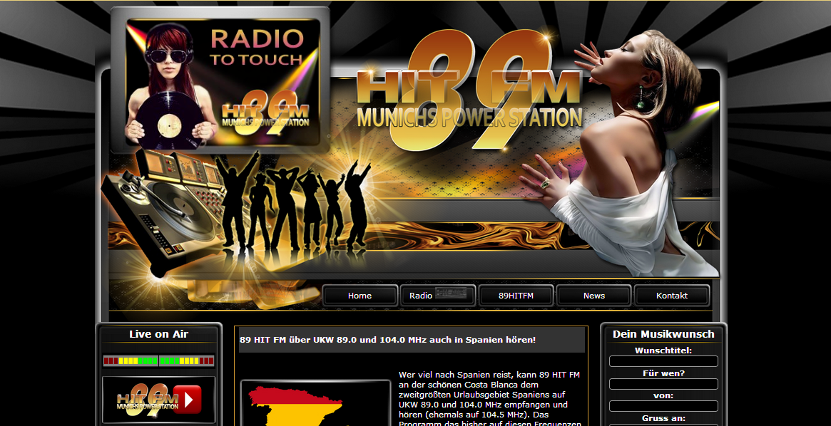 Unsere damalige Webpage.