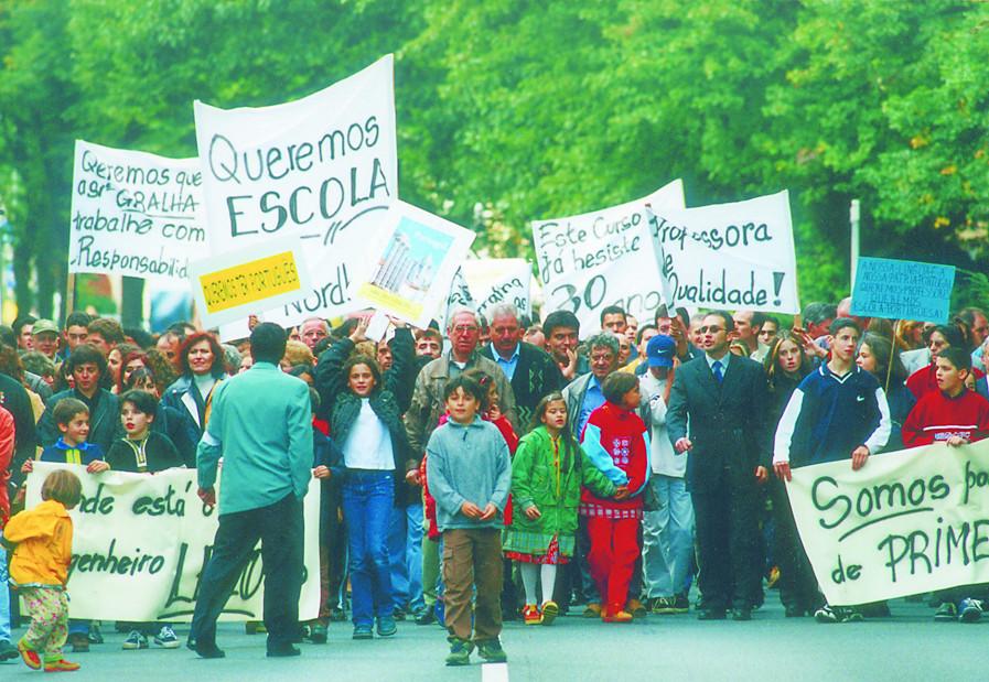 Manifestação contra o encerramento das escolas em Osnabruck, 1998