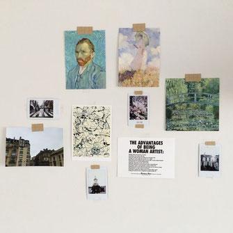 Images scotchées sur le mur
