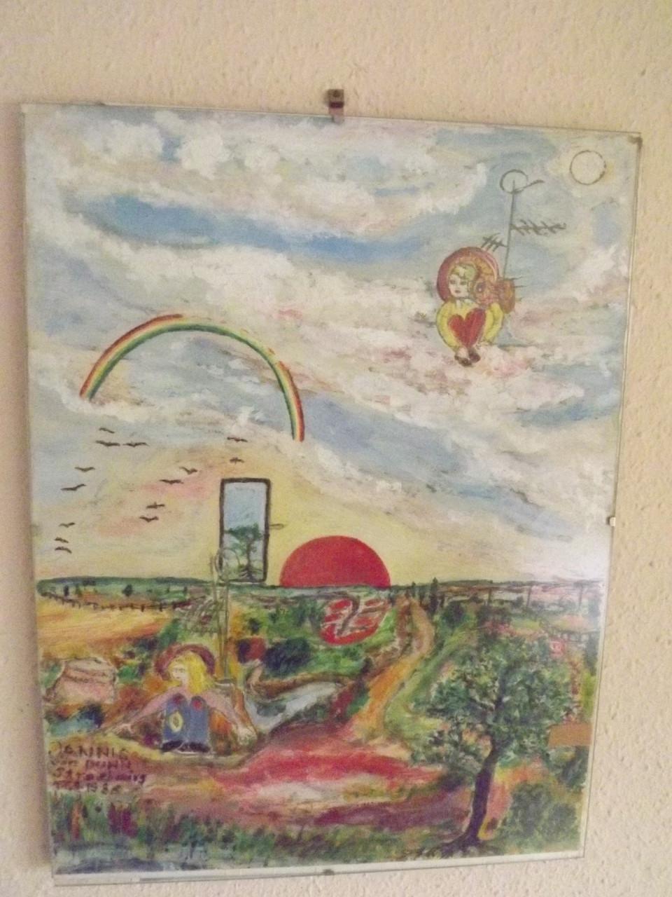 Symbolisches Gemälde zur gespaltenen Identität der Menschen in Funknetzen, 1986 von Jan von Duhn